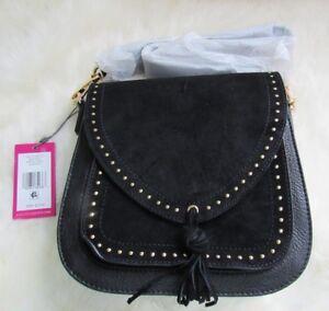 VINCE CAMUTO Artera Leather Goldtone Studs Hobo Shoulder Bag $278.00