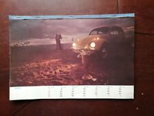Vintage Mexican Vw Volkswagen bug Beatle wall paper calendar from 1971 rare