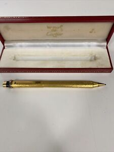 Vintage Cartier Vendome Oval Gold Plated Ballpoint Pen with Box