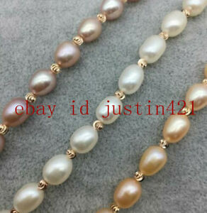 Charming 7-8mm White/ Pink/Purple Freshwater Cultured Pearl Bracelet 7.5'' AAA