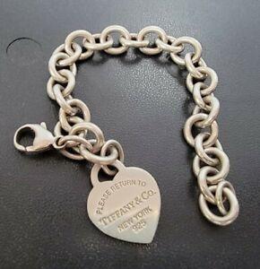 Tiffany & Co Sterling & Blue Enamel Return To Tiffany Heart Tag 7inch Bracelet