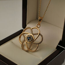 Yellow Gold Filled Round Swirl Pendant Clear Blue CZ Crystals Chain Necklace N33