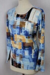 Damen Pullover Pulli Oberteil blau abstakt Glitzer Viskose OVANTI Gr.42