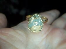 Unisex 14K Solid Yellow Gold Jade & Swan Ring