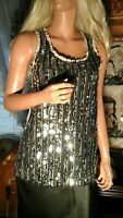BKE LARGE SPARKLE SEQUIN STRETCH KNIT TANK TOP WESTERN RODEO COWGIRL PARTY