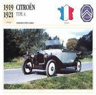 Citroën Type A 4 Cyl. 1919-1921 France CAR VOITURE CARTE CARD FICHE