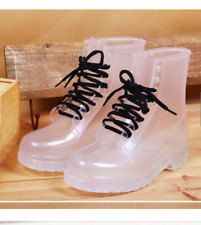 White US9 Womens Clear Lace Up Rain Boots Waterproof Rubber Thick Shoes Gjxia