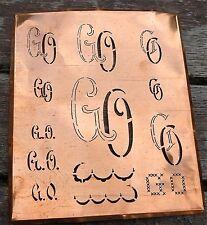 """Monogramm """" GO """" Wäschemonogramm Wäscheschablone Wäschezeichen 11/13 cm KUPFER"""