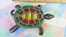 Cast Iron Hot Pot Trivet Decor Multi Colored Turtle Stained Glass Pot Holder