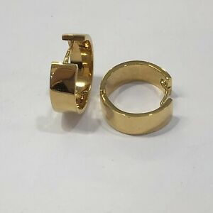 18k Solid Yellow Gold Hoop Earrings - Women 4g