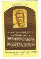 Bob Lemon Autographed Signed MLB HOF Hall of Fame Plaque Postcard