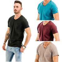 """""""TINFL"""" Multi Pack Men's Cotton Blend Comfy Short Sleeve V Neck T-Shirts"""