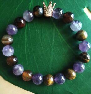 Handmade Healing Stretch Bracelet Tigers Eye, Amethyst, Rose Gold Crown 10mm