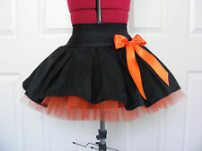 NEW HANDMADE GIRLS BLACK / ORANGE TUTU MINI SKIRT IRISH DANCE SCHOOL 10-12 YRS