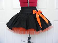 NEW HANDMADE GIRLS BLACK / ORANGE TUTU MINI SKIRT IRISH DANCE SCHOOL 10 - 12 YRS
