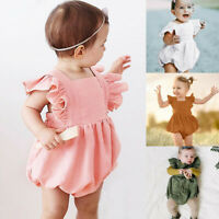 Newborn Infant Baby Boy Girl Romper Solid Sleeveless Jumpsuit Outfits Clothes US