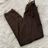 "Casablanca Womens Size 14 Vintage Brown Tweed Dress Pants With Belt 29"" Inseam"