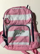 Pottery Barn Kids Small Fairfax Pink White Striped Backpack name MADISON New