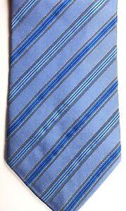 "Hugo Boss Men's Silk Tie 57"" X 3.75"" Several Blues w/ gold/black British Stripes"