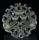 Chinese old Rare jadeite hand-carved pendant necklace statue Phoenix yuanbao 97