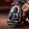 Obsidian Halskette Chinesischer Stil Obsidian Buddha Glücksanhänger Amitabha