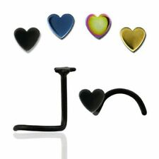 10 x Gold Titanium Heart Nose Screws Stud Pin Bone Bar Body Piercing Jewellery