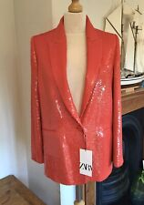 Zara Red Sequin Smart Blazer Jacket Size S UK10 Bnwt