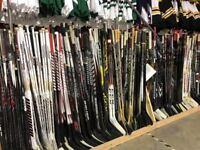10 Pack Of Used Random CCM Bauer Easton Pro Stock Hockey Sticks Left Flyers