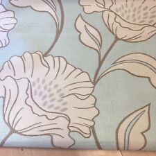 Flowers on Duck egg Blue Jacquard Curtain Fabric, price per 1/2 meter