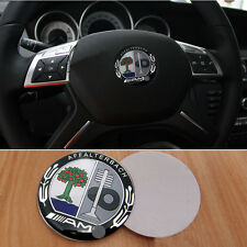 x1 Black & Green AMG Steering Wheel Badge 5.2cm Emblem Sticker For Mercedes Benz