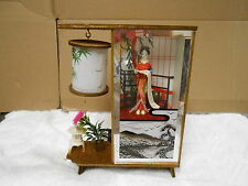 vintage collectible japan desk table night room lamp geisha women garden design