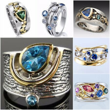Fashion Jewelry 925 Silver,Gold Rings Cubic Zirconia Party Band Gifts Size 6-10