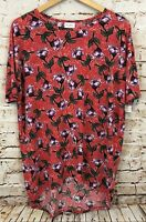 LuLaRoe top shirt Irma womens small tunic red floral purple NEW B6