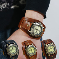 Männer Punk Retro Mode Pin Schnalle Strap Leder Uhr Quarz Analog Sportuhr