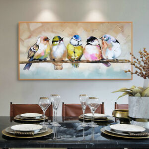 YA1220 Hand-painted abstract animal Birds oil painting canvas unframed