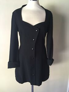 COSTUME NATIONAL Wool Blend Tux Style Mini Dress