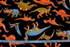 Prehistoric Dinosaurs Toss Allover Black Cotton Flannel Fabric BTY