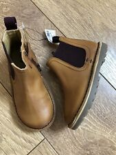 New NEXT Boys Toddler Brown Leather Chelsea Boots Shoes Size UK 8 Infant EU 25.5