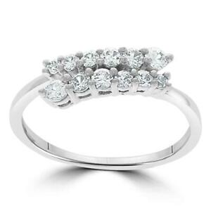 Anniversary Wedding Ring 1/2 Carat Real Diamond Shared Prong Set 14Kt Solid Gold