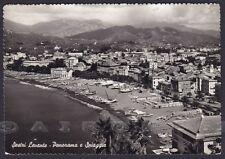 GENOVA SESTRI LEVANTE 74 SPIAGGIA BAGNI Cartolina FOTOGRAFICA viaggiata 1955