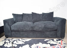 DYLAN 3 Seater Sofas in Black, Jumbo Cord Fabric Sofa Suites, Three Seater