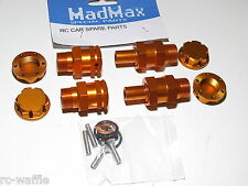 YY-EXTENDED WHEEL HEX HUBS REAR SET 24MM HEXES HPI KM ROVAN BAJA 5T ORANGE