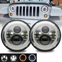 Chrome 7Inch Round LED Headlights Halo Angle Eyes For Jeep Wrangler JK LJ TJ CJ
