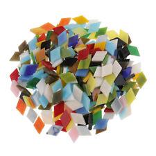 300x Mixed Color Rhombus Glass Mosaic Tiles Tessera for DIY Art Craft 12mm