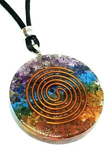 Orgone 7 Chakra Pendant Reiki Copper Double Coil Healing Round Cord Necklace