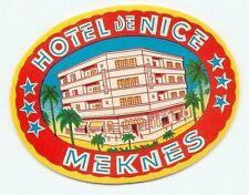 MEKNES MOROCCO HOTEL DE NICE VINTAGE ART DECO LUGGAGE LABEL