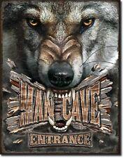 Man Cave Wolf  Metal Tin Sign Wall Art