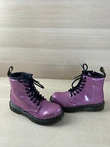 Dr. Martens 1460 GLITTER J Pink Patent Leather Lace Up/Side Zip Boots Kid Size 1