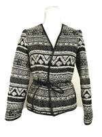 HM Womens Size 2 Jacket Blazer Faux Leather Tie Trim Aztec Black Textured #P67