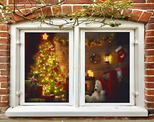 3D Sock N551 Christmas Window Film Print Sticker Cling Stained Glass Xmas Fay
